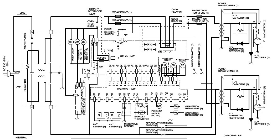 Electro Help  Microwave Oven Circuit Diagram Sharp Model R 1900j