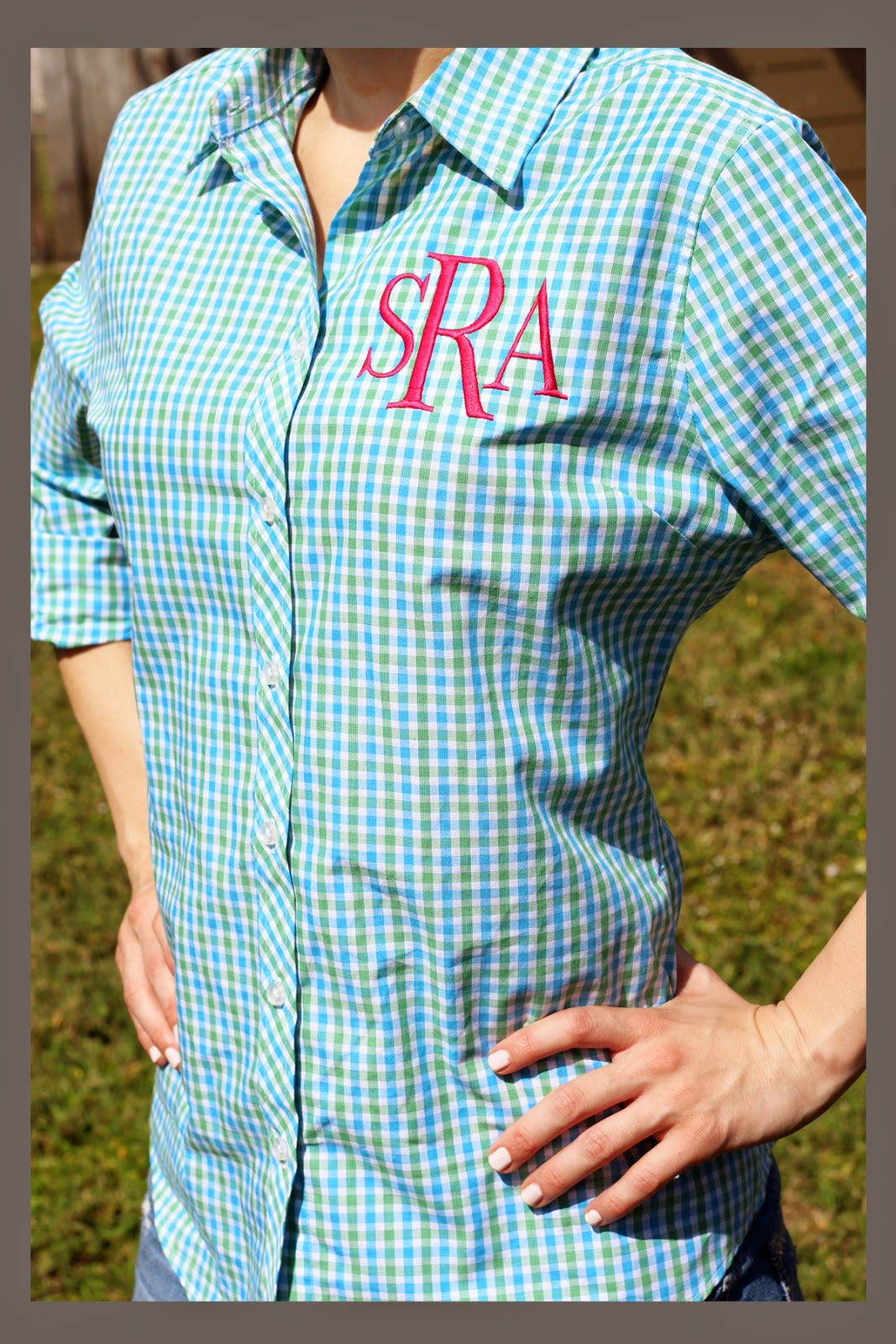 Tiny Tulip Monogrammed Gingham Shirt Giveaway Skinny Latte Mommy