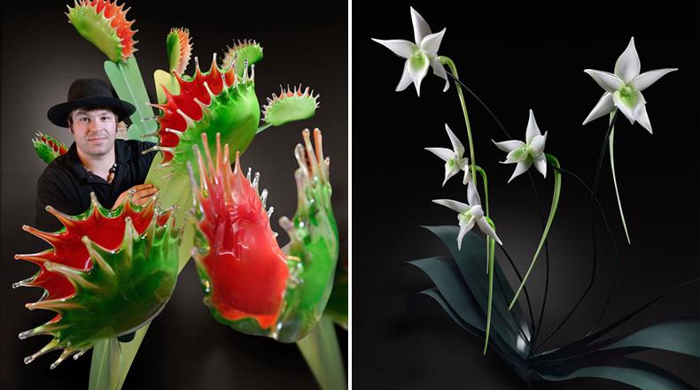 Artista crea hermosas flores de cristal de tamaño gigante