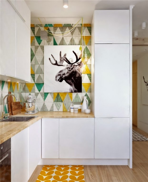 scandinavian colour apartment kitchen