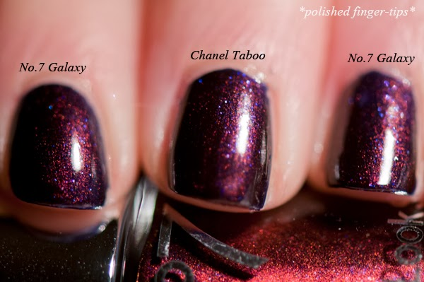 Chanel Taboo dupe test with No.7 Galaxy - artificial light