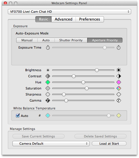 Webcam Settings 1.5 basic settings (control) for Creative VF0700 Live! Cam Chat HD