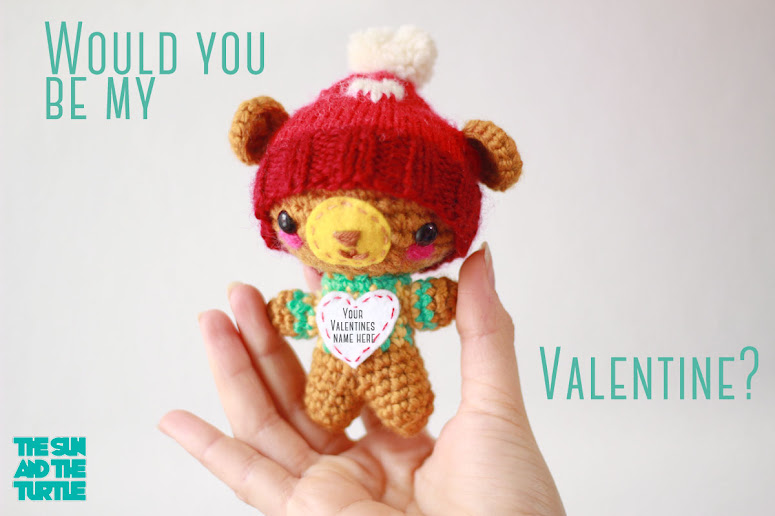 Amigurumi Love Bear. Personalized valentine's day gift in amigurumi format for sale in our Etsy store. Small enough to be used as a keychain, home decoration, nursery decoration, cake topper etc.