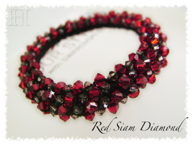 Red Siam Diamond Swarovski Crochet Bangle