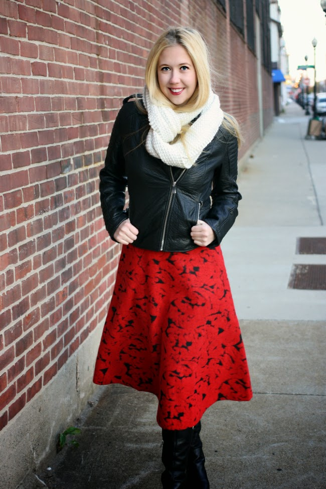 Boston Fashion, Boston Fashion Blog, 424 Fifth, Affordable Leather Jacket, How To Wear a Midi Skirt, Stoker Ray Bans, Outfits, Fall 2014 Outfit Ideas, Best Infinity Scarf