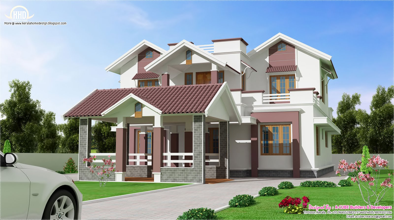 Beautiful new 2 floor villa design kerala home design for Two level house design