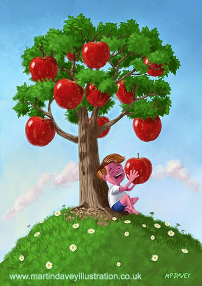Boy with Apple Tree-digital painting