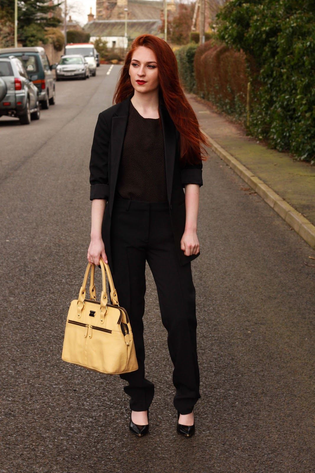 krystel couture, style blogger, tailored trousers, allsaints blazer,