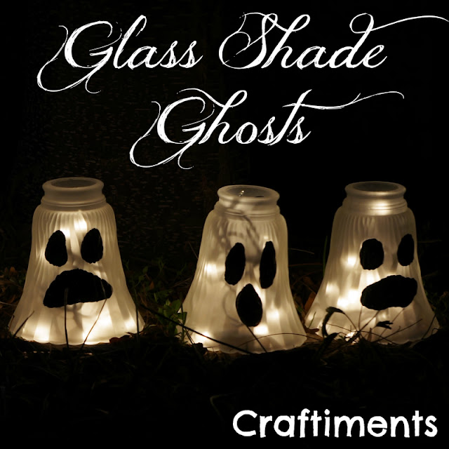 Glass Shade Ghosts for Halloween decor by Craftiments featured on I Love That Junk