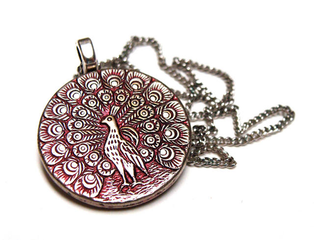 Silver and Pink Peacock Necklace #antique #nouveau #paris #peacock