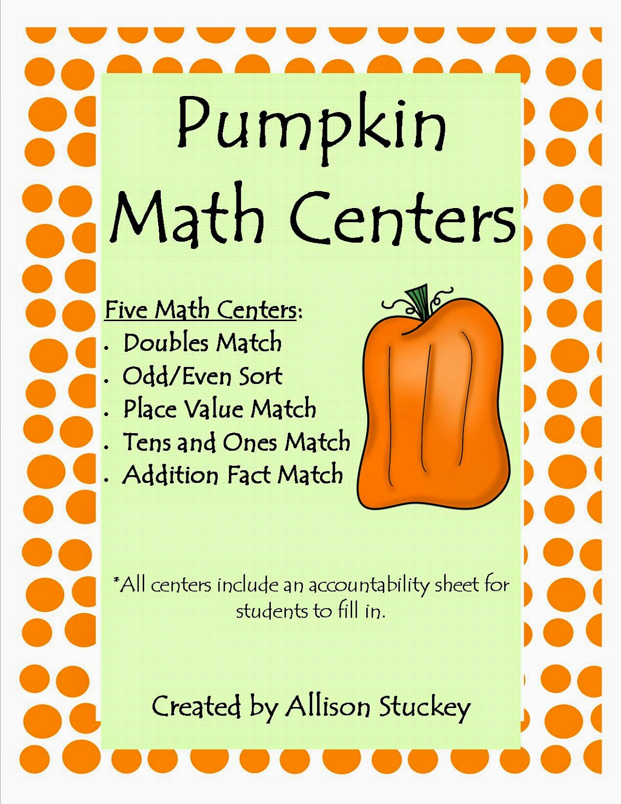 http://www.teacherspayteachers.com/Product/Pumpkin-Math-Centers-362729