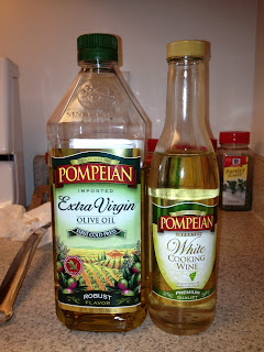 pompeian extra virgin olive oil and white cooking wine