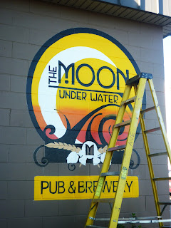 moon pub brewery canada traditional signage dobell designs wall mural hand painted with brushes