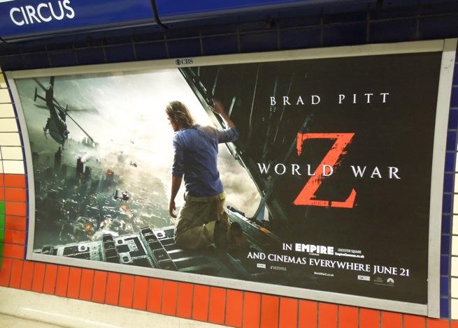 World War Z London tube poster