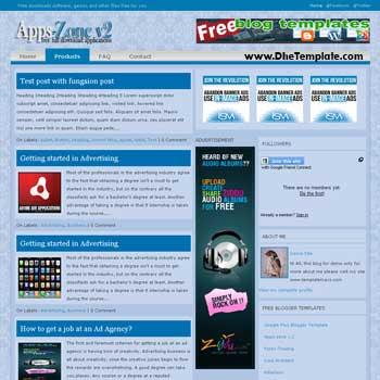 Apps-Zone V.2 blogger template. 3 column blogger template. ads ready blogger template. 3 column blogspot template