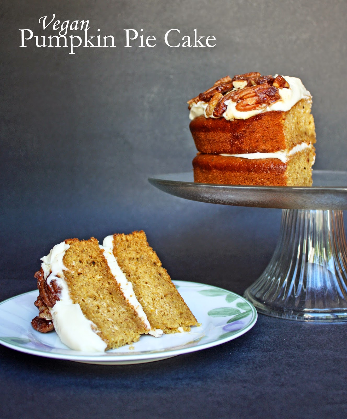 pumpkin pie cake with cream cheese frosting and candied pecans