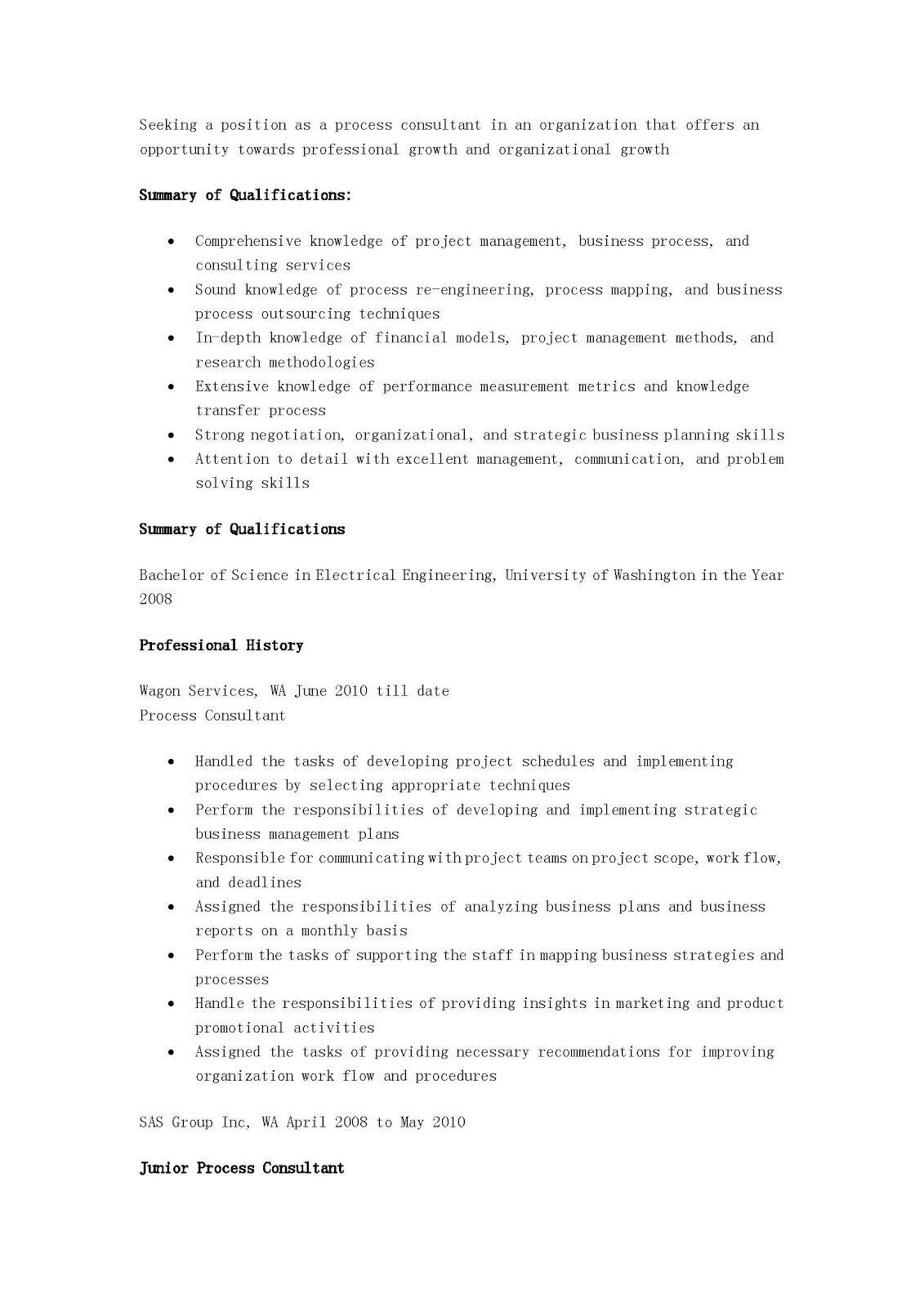 resume samples process consultant resume