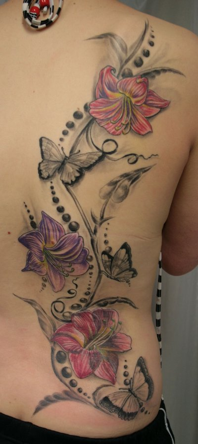 Butterfly and Flower Tattoos On Back