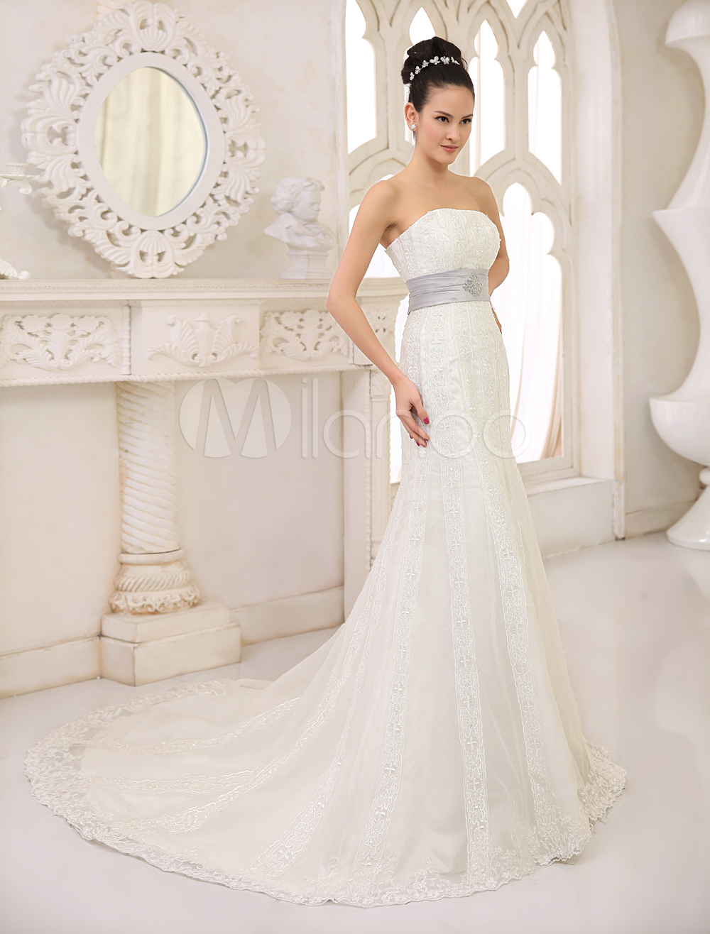 China Wholesale Dresses - Ivory Mermaid Trumpet Strapless Sash Beading Embroidery Floor Length Lace Satin Wedding Dress