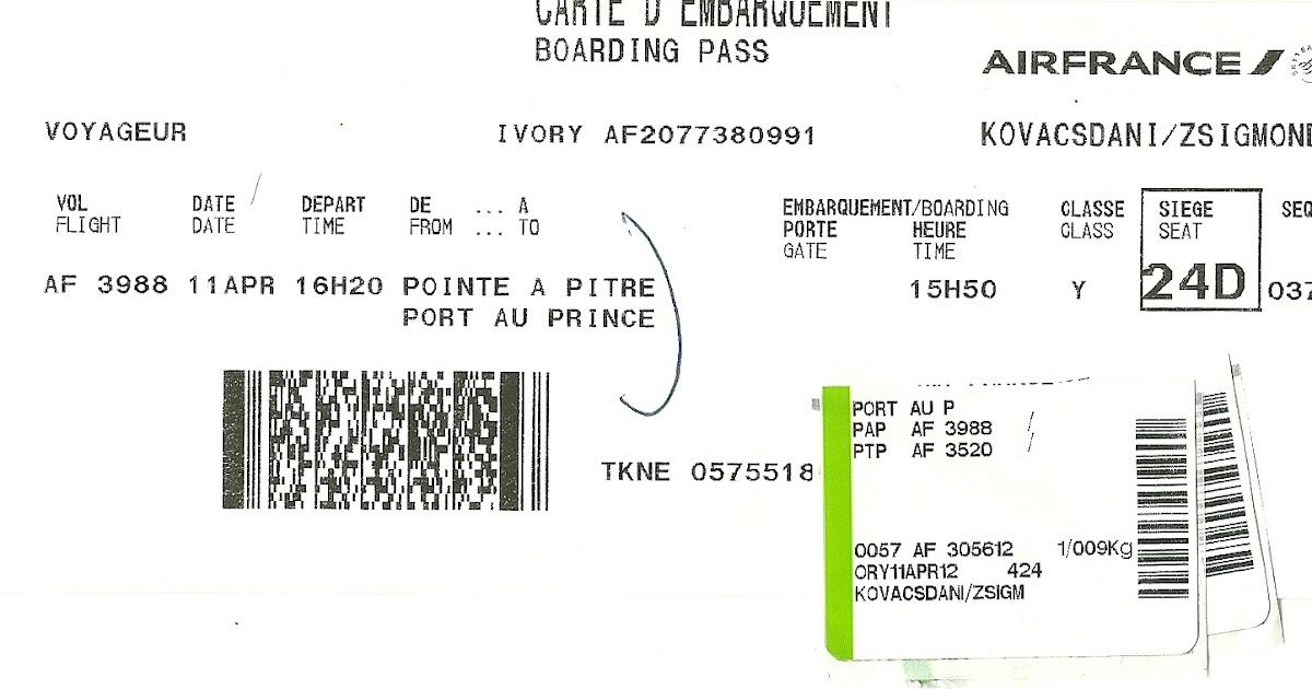 The traveler's drawer: AIR FRANCE. Carte d'embarquement pour le vol AF 3988 de Pointe-à-Pitre ...