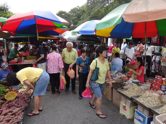 Dried spices and all kinds of vegetables can be seen at this morning market in Taman Overseas Union, Kuala Lumpur, Malaysia