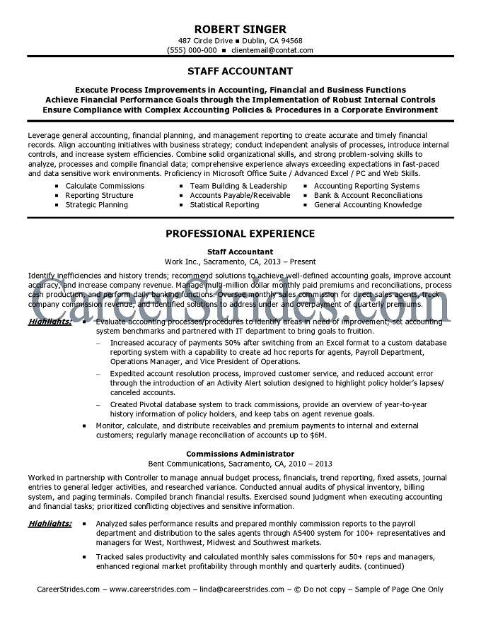 Staff Accountant Resume Sample | Sample Resume And Free Resume