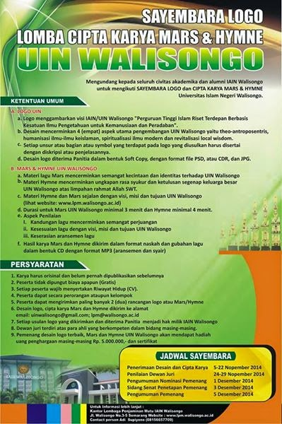 Lomba Cipta Logo, Mars dan Hymne UIN Walisongo Semarang