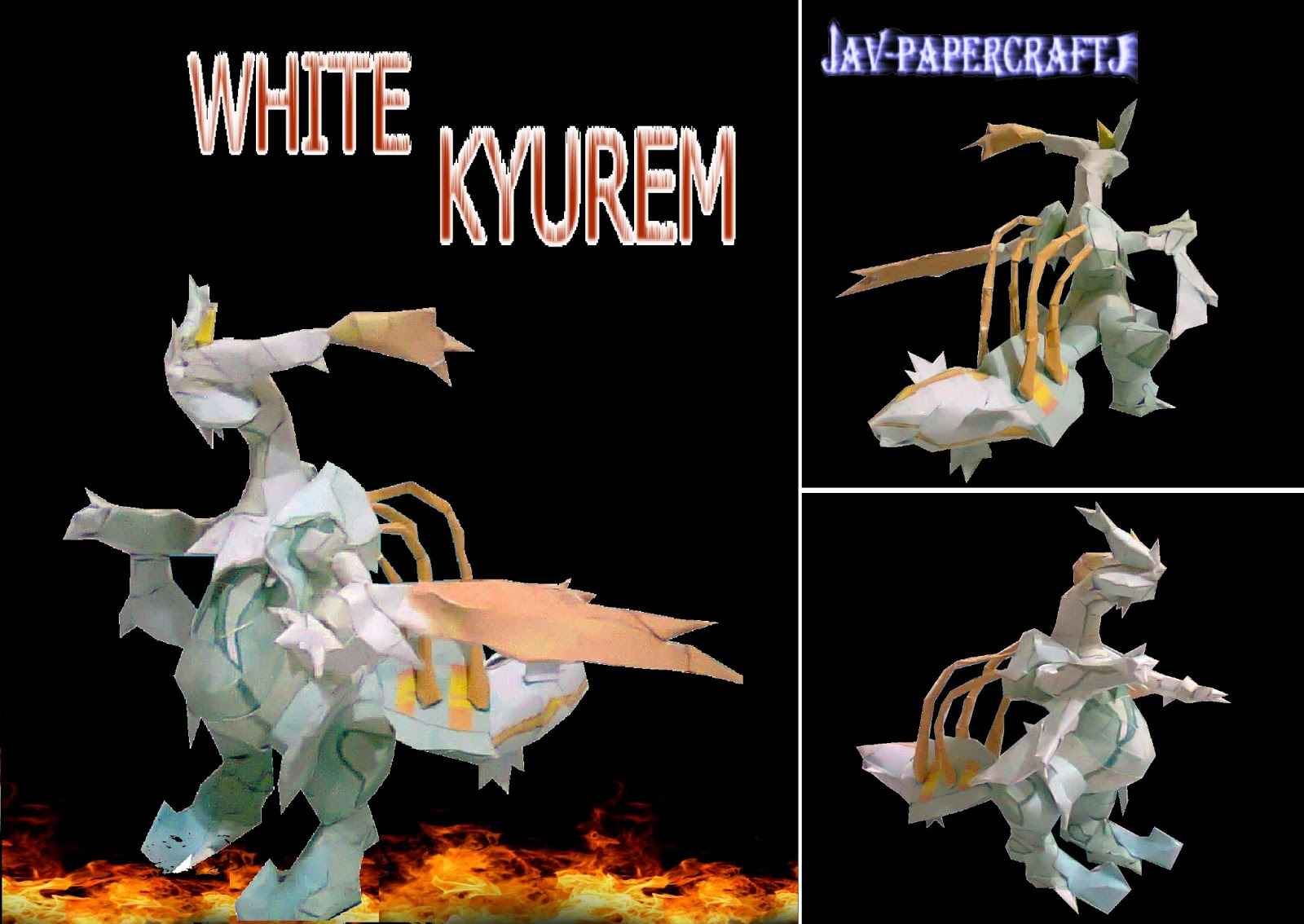 Pokemon White Kyurem Papercraft