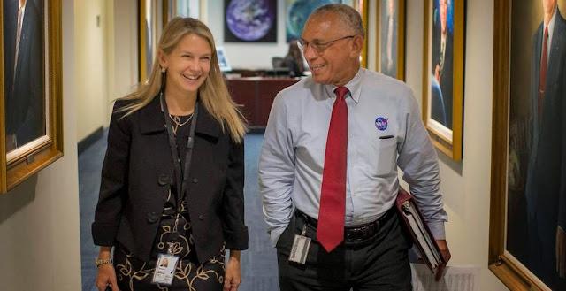 NASA Deputy Administrator Dr. Dava Newman walks to a meeting with NASA Administrator Charles Bolden, on Monday, May 18, her first day on the job at NASA Headquarters in Washington. Credits: NASA/Bill Ingalls