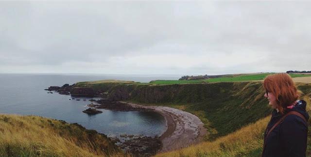 Jen overlooking Dunnottar Castle