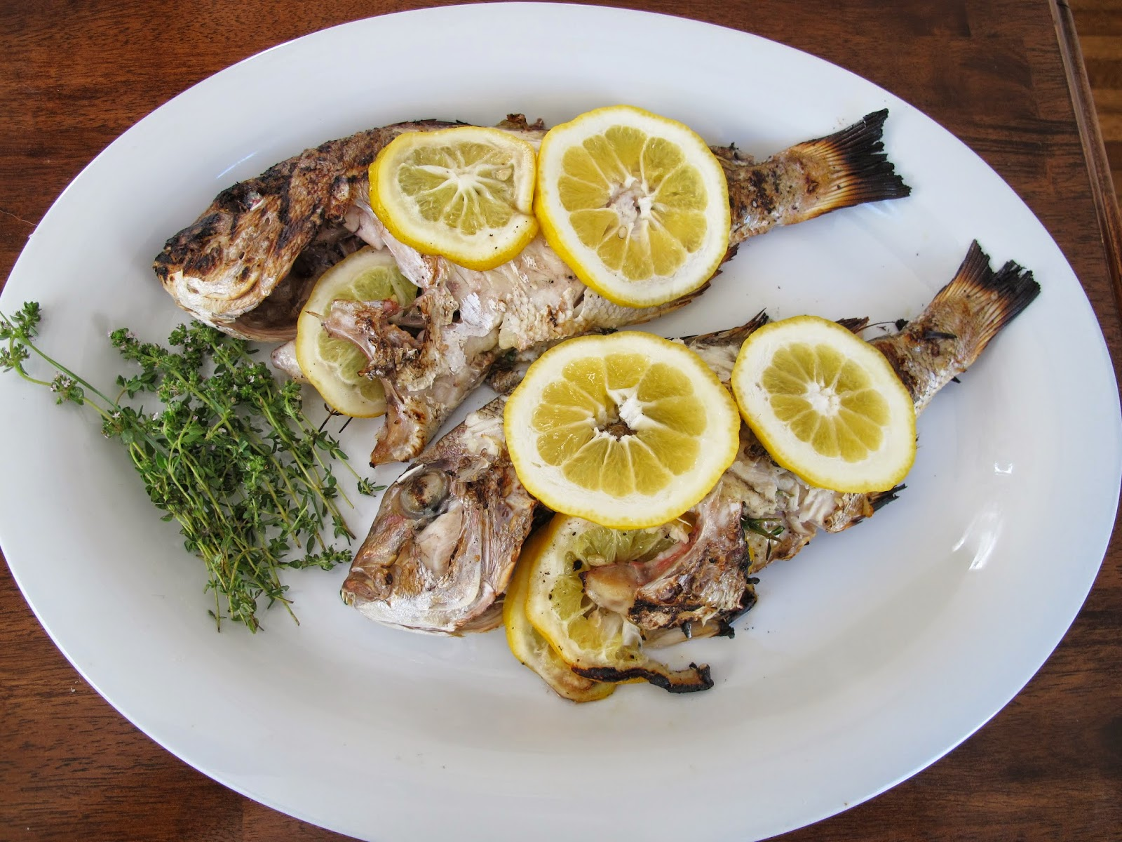 Whole Grilled Snapper with Lemon Garlic Sauce