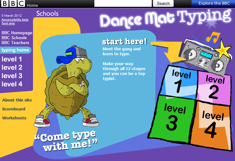 Free Technology for Teachers Dance Mat Typing Typing