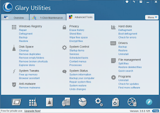 Glary Utilities advance tools screen shot