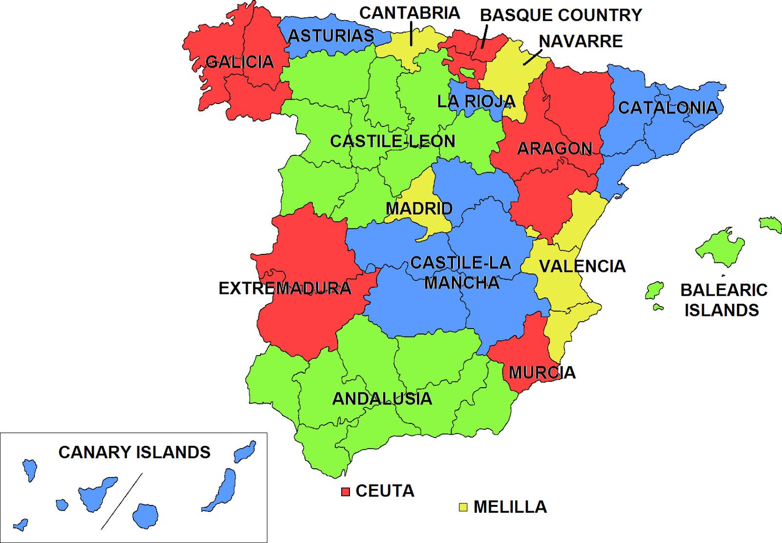 Mapa Espana País Ciudad Región