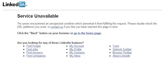 LinkedIn - 503: Service Unavailable