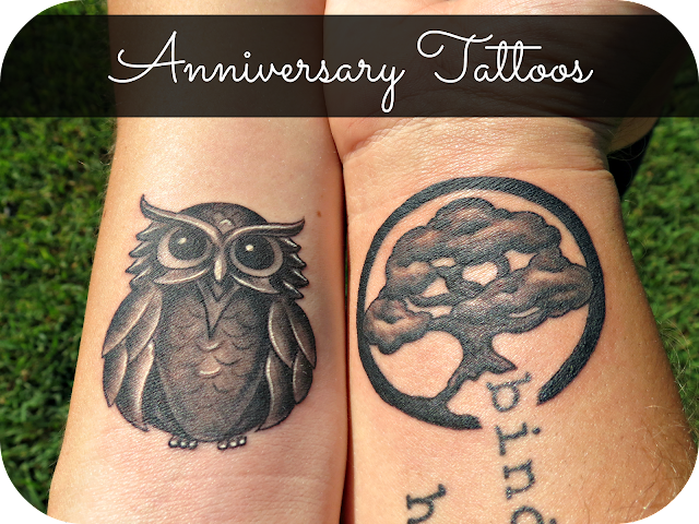 couples tattoo owl tree