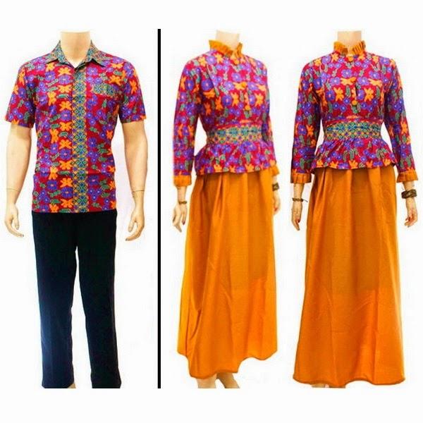 Baju Batik Pasangan Muslim motif bunga