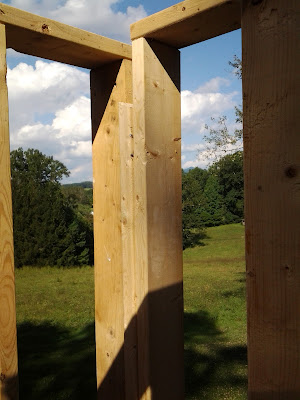 framing a new chimney, with views to beautiful mountain countryside