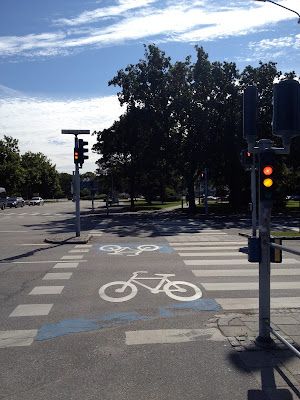 painted in the bike lane are bikers and the pedestrian crosswalk has stripes