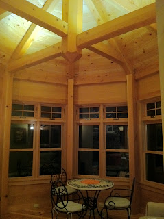 Octagon shaped timber frame great room