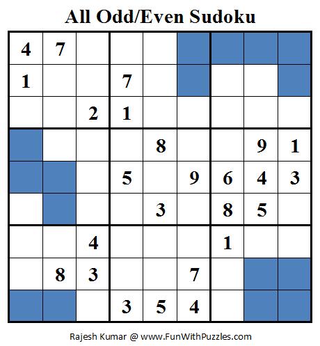 All Odd/Even Sudoku (Daily Sudoku League #78)