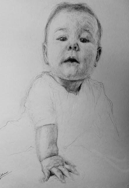 retrato, bolígrafo, negro