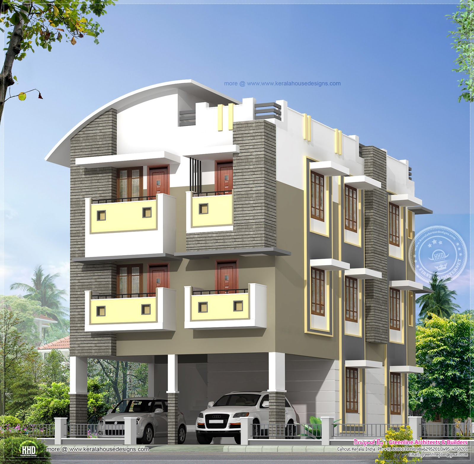 3 story home design in 3630 kerala home design for 3 floor house design