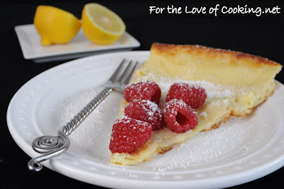 German Pancake with Lemon and Raspberries