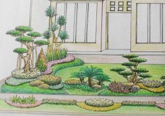 sketsa gambar taman