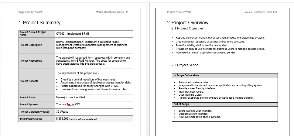 Project Initiation Template and Free Sample Download – Project Summary Template