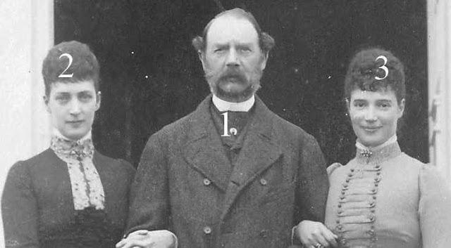 Christian IX de Danemark et ses filles Alexandra et Maria Feodorovna