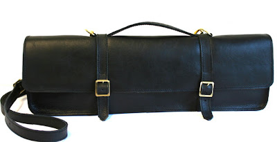black leather handmade flute case