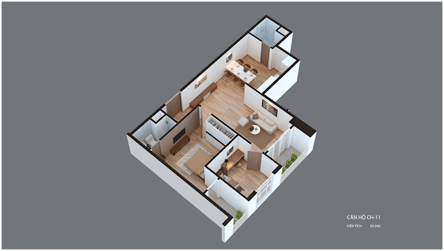 Mặt bằng căn hộ Imperia Garden CH11 69,3 m2