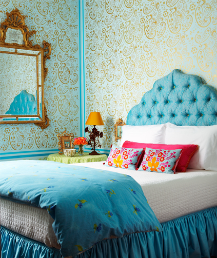My girlie and me turquoise and coral for Turquoise wallpaper for bedroom